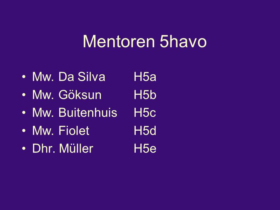 Mentoren 5havo Mw. Da SilvaH5a Mw. GöksunH5b Mw. BuitenhuisH5c Mw. FioletH5d Dhr. MüllerH5e
