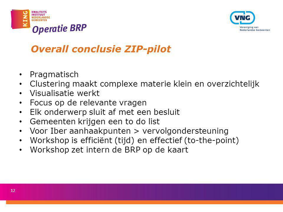 12 Overall conclusie ZIP-pilot Pragmatisch Clustering maakt complexe materie klein en overzichtelijk Visualisatie werkt Focus op de relevante vragen E