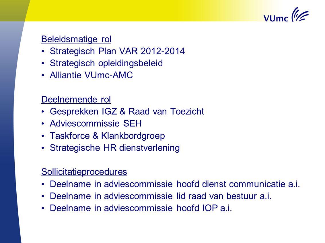 Beleidsmatige rol Strategisch Plan VAR 2012-2014 Strategisch opleidingsbeleid Alliantie VUmc-AMC Deelnemende rol Gesprekken IGZ & Raad van Toezicht Ad
