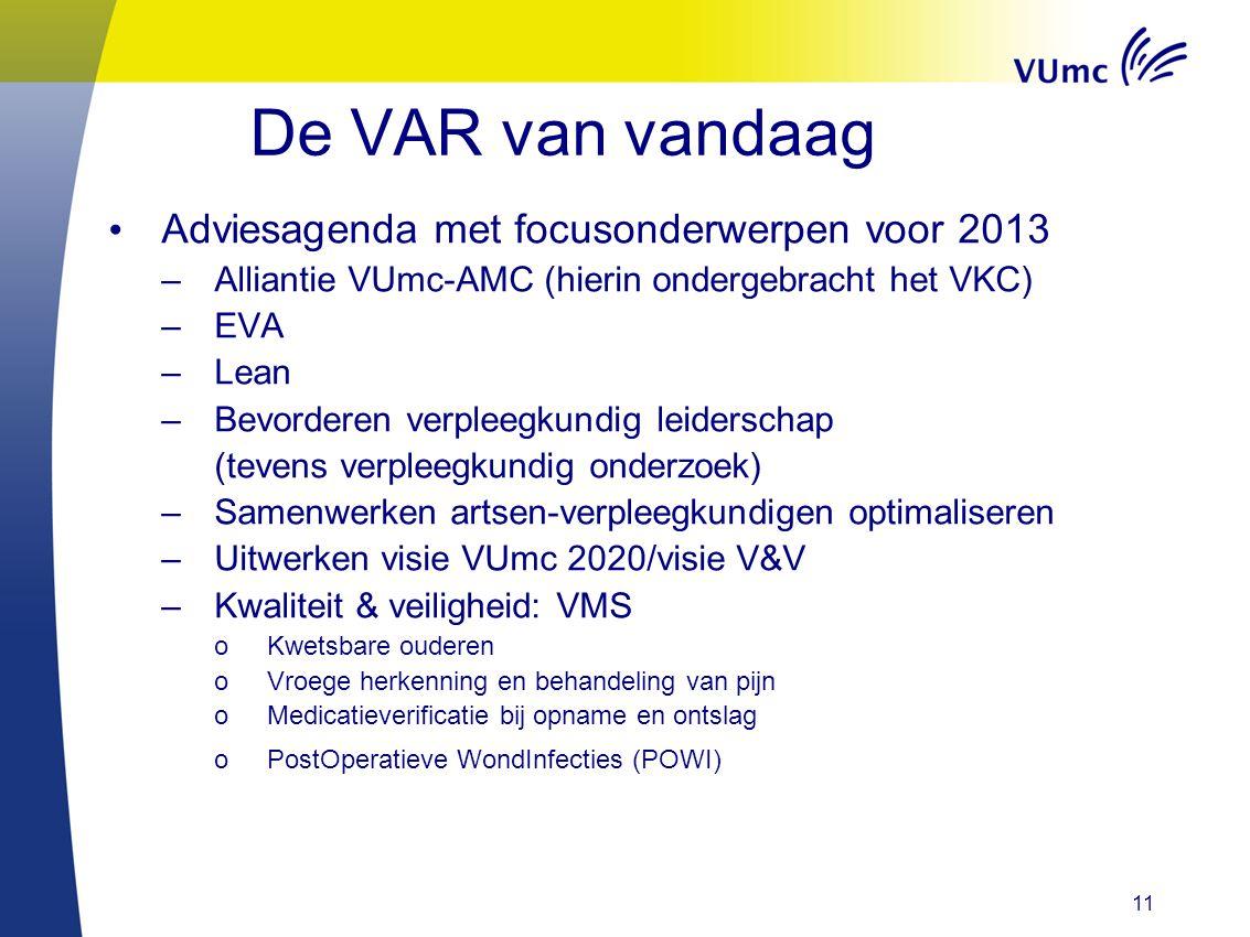 De VAR van vandaag Adviesagenda met focusonderwerpen voor 2013 –Alliantie VUmc-AMC (hierin ondergebracht het VKC) –EVA –Lean –Bevorderen verpleegkundi