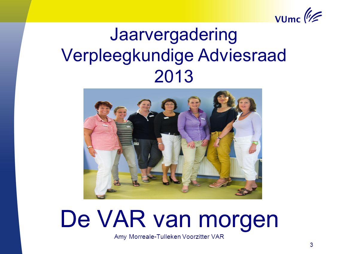 3 Jaarvergadering Verpleegkundige Adviesraad 2013 De VAR van morgen Amy Morreale-Tulleken Voorzitter VAR