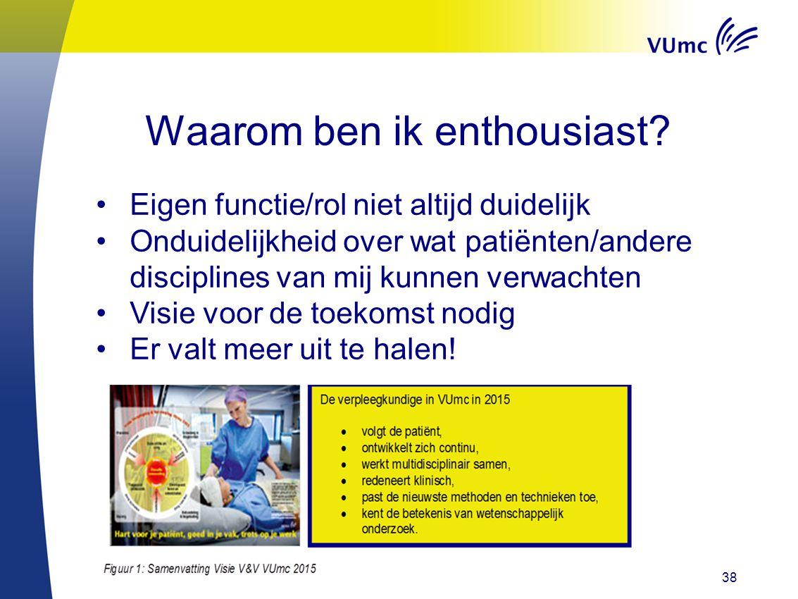 Waarom ben ik enthousiast? 38 Eigen functie/rol niet altijd duidelijk Onduidelijkheid over wat patiënten/andere disciplines van mij kunnen verwachten