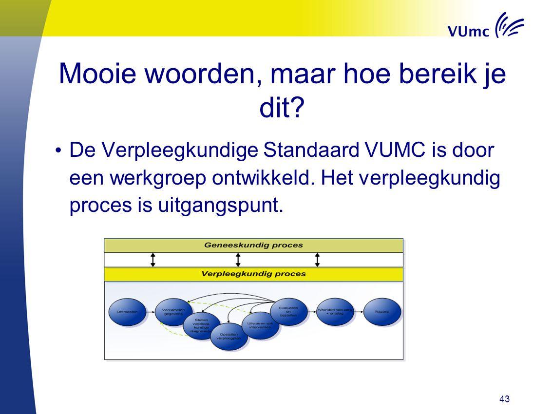 Mooie woorden, maar hoe bereik je dit? De Verpleegkundige Standaard VUMC is door een werkgroep ontwikkeld. Het verpleegkundig proces is uitgangspunt.