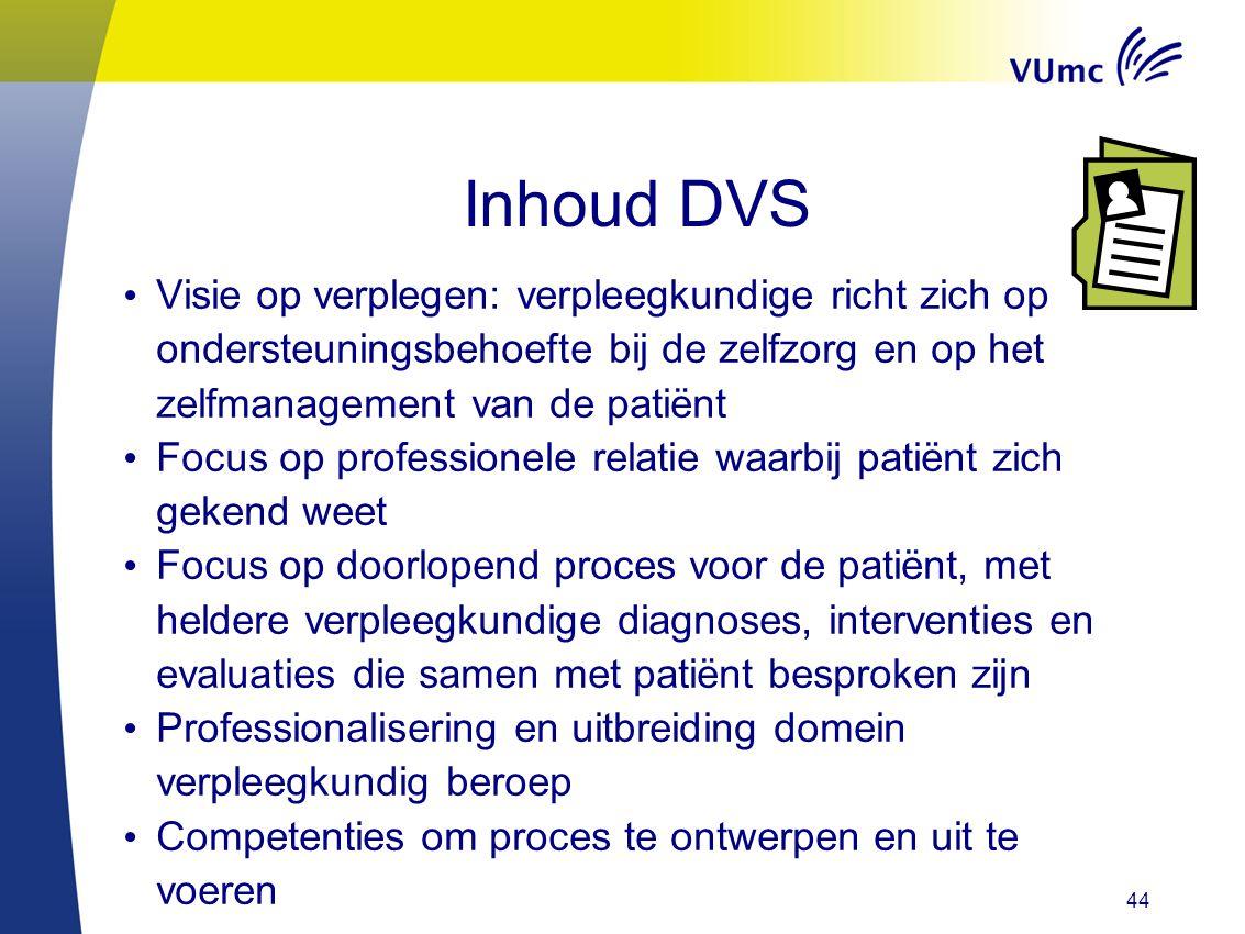 Inhoud DVS Visie op verplegen: verpleegkundige richt zich op ondersteuningsbehoefte bij de zelfzorg en op het zelfmanagement van de patiënt Focus op p