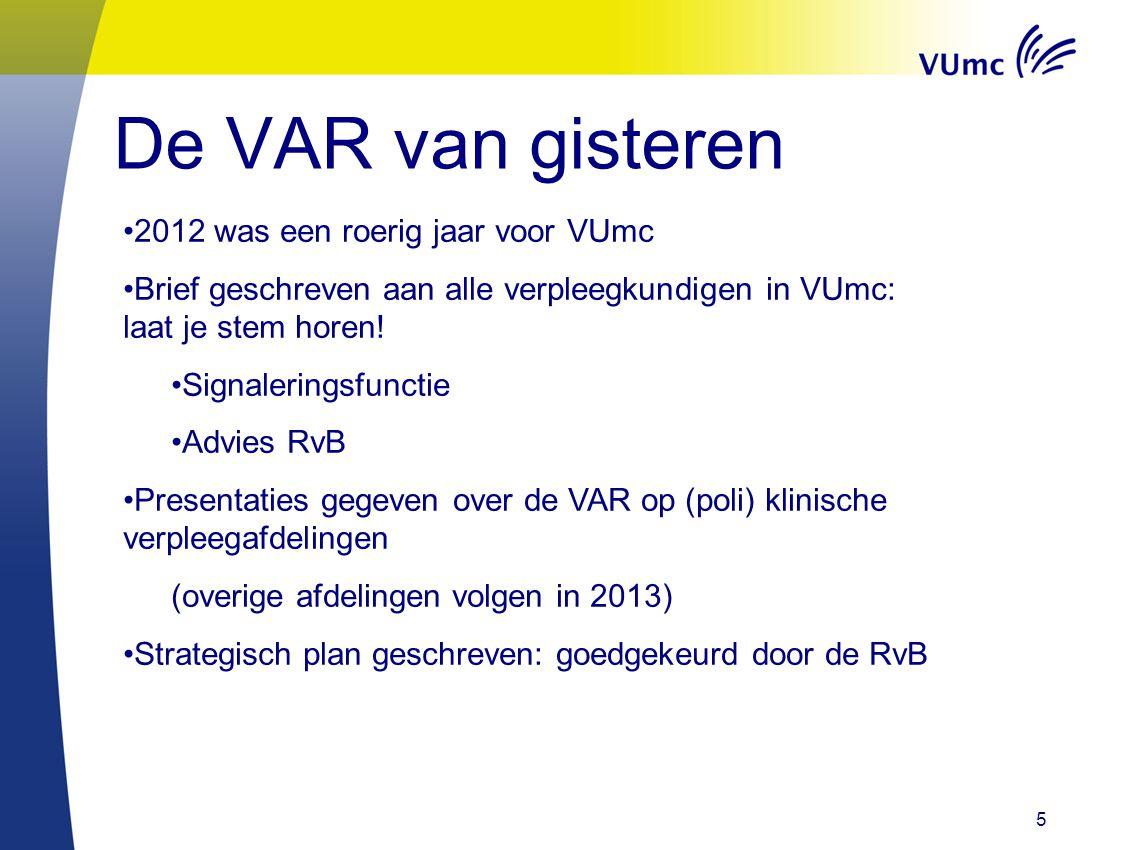 De VAR van gisteren 5 2012 was een roerig jaar voor VUmc Brief geschreven aan alle verpleegkundigen in VUmc: laat je stem horen! Signaleringsfunctie A