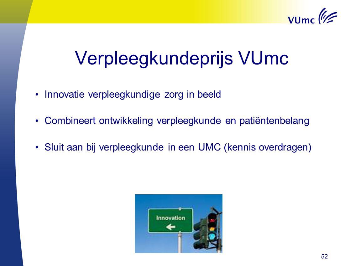 52 Verpleegkundeprijs VUmc Innovatie verpleegkundige zorg in beeld Combineert ontwikkeling verpleegkunde en patiëntenbelang Sluit aan bij verpleegkund