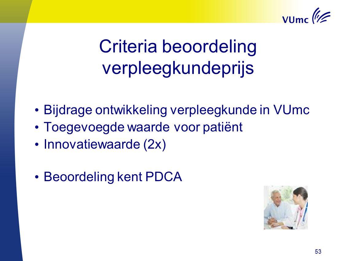 53 Criteria beoordeling verpleegkundeprijs Bijdrage ontwikkeling verpleegkunde in VUmc Toegevoegde waarde voor patiënt Innovatiewaarde (2x) Beoordelin