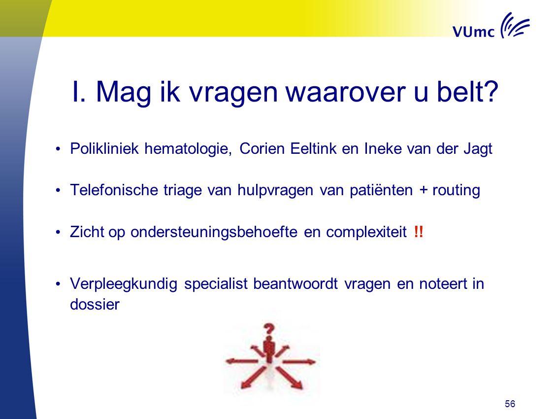 56 I. Mag ik vragen waarover u belt? Polikliniek hematologie, Corien Eeltink en Ineke van der Jagt Telefonische triage van hulpvragen van patiënten +