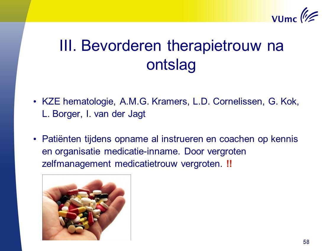 58 III. Bevorderen therapietrouw na ontslag KZE hematologie, A.M.G. Kramers, L.D. Cornelissen, G. Kok, L. Borger, I. van der Jagt Patiënten tijdens op
