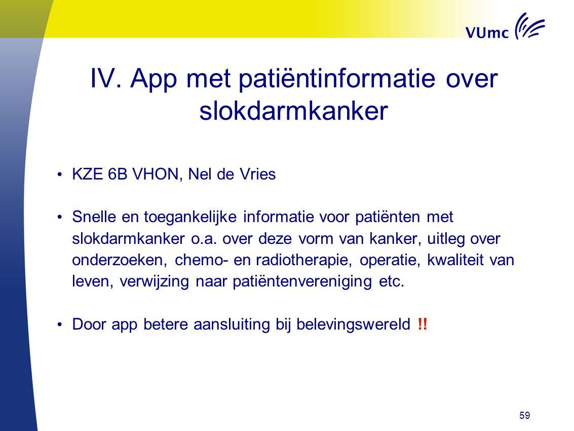 59 IV. App met patiëntinformatie over slokdarmkanker KZE 6B VHON, Nel de Vries Snelle en toegankelijke informatie voor patiënten met slokdarmkanker o.