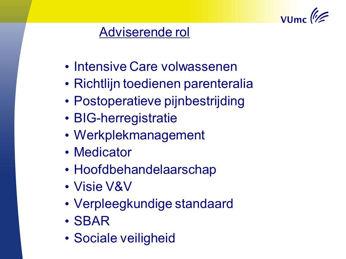 Adviserende rol Intensive Care volwassenen Richtlijn toedienen parenteralia Postoperatieve pijnbestrijding BIG-herregistratie Werkplekmanagement Medic