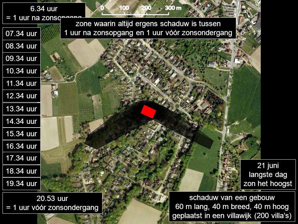 schaduw van een gebouw 60 m lang, 40 m breed, 40 m hoog geplaatst in een villawijk (200 villa's) 6.34 uur = 1 uur na zonsopgang 07.34 uur 21 juni lang