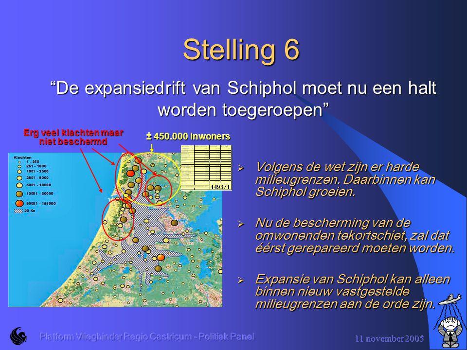 11 november 2005 Platform Vlieghinder Regio Castricum - Politiek Panel Stelling 5  De huidige wet stelt een grens van maximaal 39.000 slaapverstoorden.