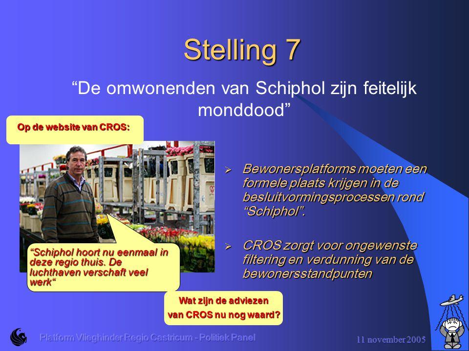 11 november 2005 Platform Vlieghinder Regio Castricum - Politiek Panel Stelling 6  Volgens de wet zijn er harde milieugrenzen.