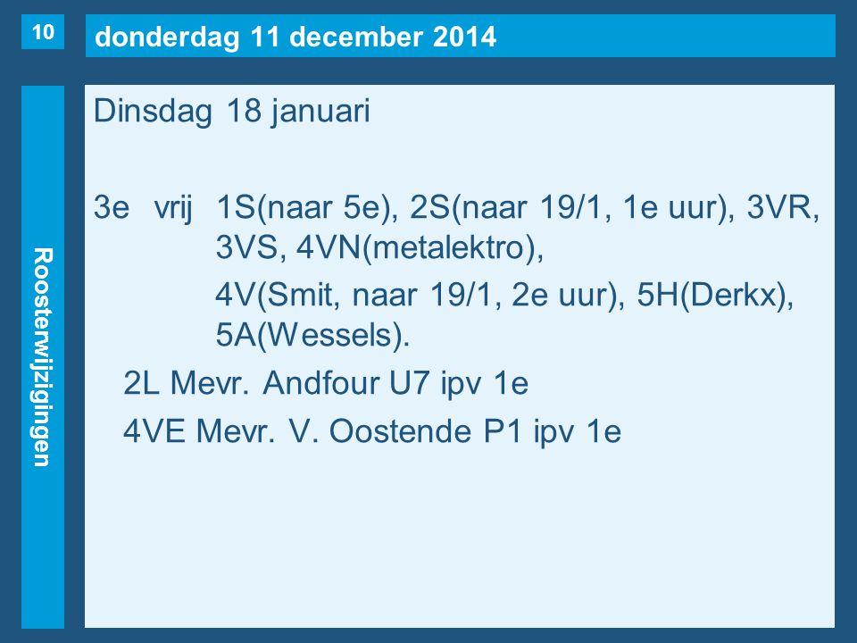 donderdag 11 december 2014 Roosterwijzigingen Dinsdag 18 januari 3evrij1S(naar 5e), 2S(naar 19/1, 1e uur), 3VR, 3VS, 4VN(metalektro), 4V(Smit, naar 19