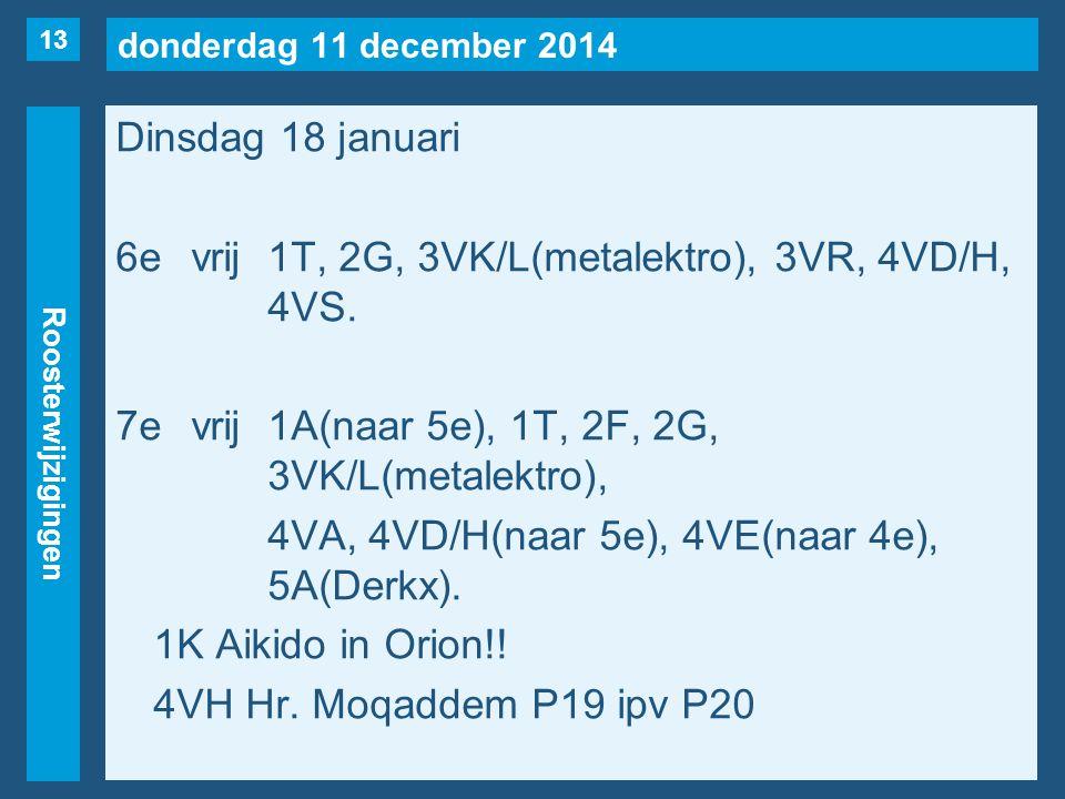 donderdag 11 december 2014 Roosterwijzigingen Dinsdag 18 januari 6evrij1T, 2G, 3VK/L(metalektro), 3VR, 4VD/H, 4VS. 7evrij1A(naar 5e), 1T, 2F, 2G, 3VK/
