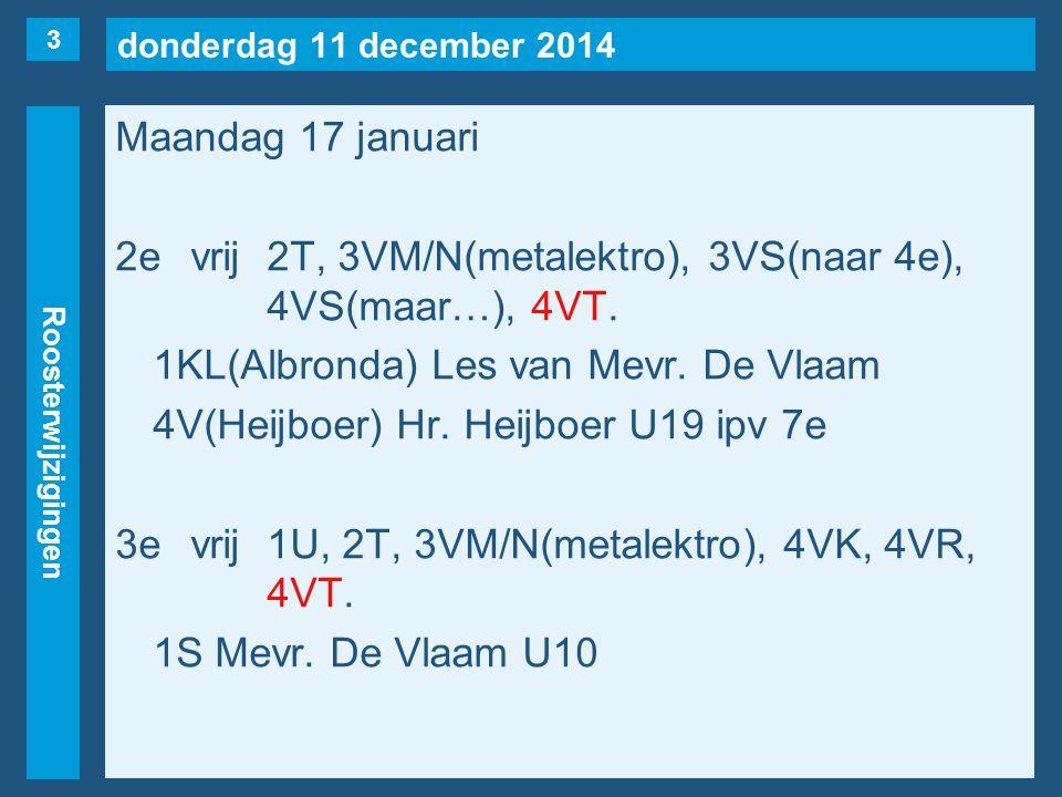 donderdag 11 december 2014 Roosterwijzigingen Maandag 17 januari 2evrij2T, 3VM/N(metalektro), 3VS(naar 4e), 4VS(maar…), 4VT. 1KL(Albronda) Les van Mev