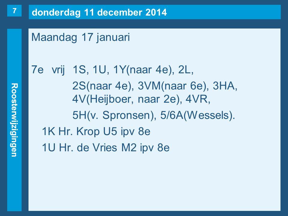 donderdag 11 december 2014 Roosterwijzigingen Maandag 17 januari 7evrij1S, 1U, 1Y(naar 4e), 2L, 2S(naar 4e), 3VM(naar 6e), 3HA, 4V(Heijboer, naar 2e),