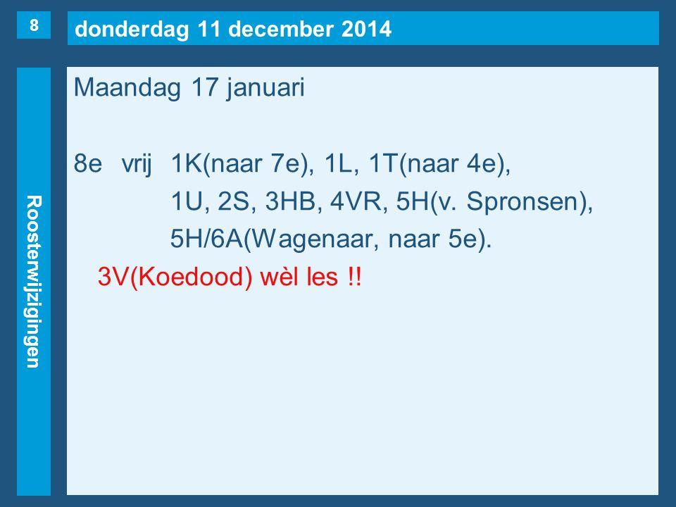 donderdag 11 december 2014 Roosterwijzigingen Maandag 17 januari 8evrij1K(naar 7e), 1L, 1T(naar 4e), 1U, 2S, 3HB, 4VR, 5H(v. Spronsen), 5H/6A(Wagenaar