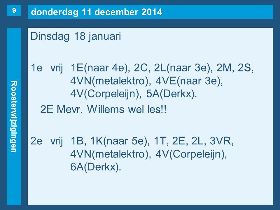 donderdag 11 december 2014 Roosterwijzigingen Dinsdag 18 januari 1evrij1E(naar 4e), 2C, 2L(naar 3e), 2M, 2S, 4VN(metalektro), 4VE(naar 3e), 4V(Corpele