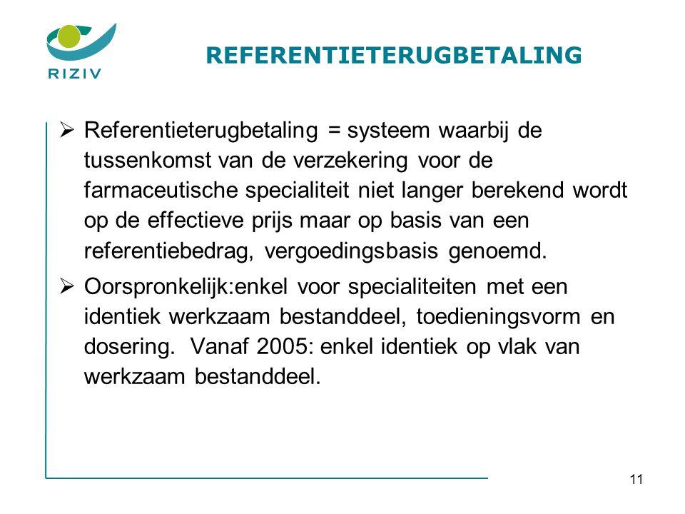 11 REFERENTIETERUGBETALING  Referentieterugbetaling = systeem waarbij de tussenkomst van de verzekering voor de farmaceutische specialiteit niet lang