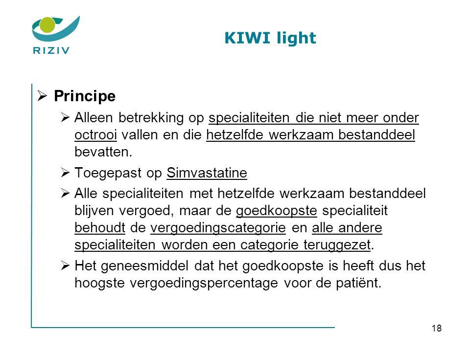 18 KIWI light  Principe  Alleen betrekking op specialiteiten die niet meer onder octrooi vallen en die hetzelfde werkzaam bestanddeel bevatten.  To