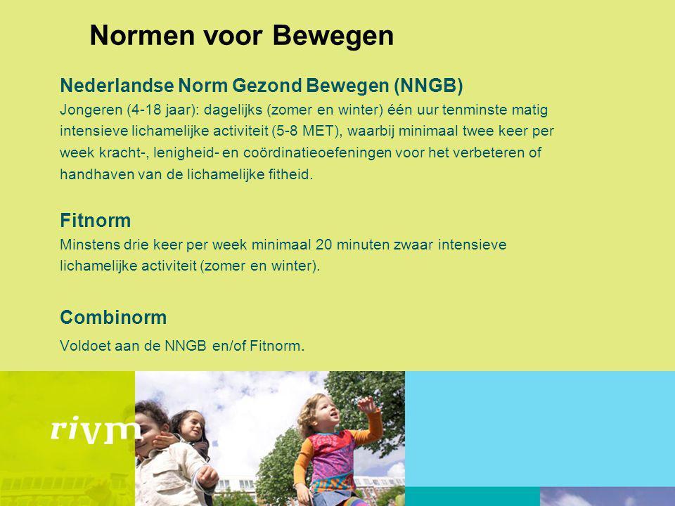 Normen voor Bewegen Nederlandse Norm Gezond Bewegen (NNGB) Jongeren (4-18 jaar): dagelijks (zomer en winter) één uur tenminste matig intensieve lichamelijke activiteit (5-8 MET), waarbij minimaal twee keer per week kracht-, lenigheid- en coördinatieoefeningen voor het verbeteren of handhaven van de lichamelijke fitheid.