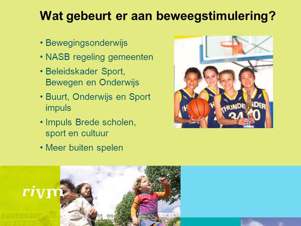 Wat gebeurt er aan beweegstimulering? Bewegingsonderwijs NASB regeling gemeenten Beleidskader Sport, Bewegen en Onderwijs Buurt, Onderwijs en Sport im