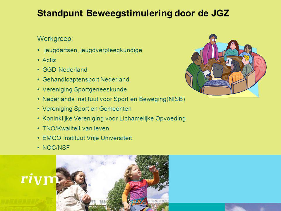 Standpunt Beweegstimulering door de JGZ Werkgroep: jeugdartsen, jeugdverpleegkundige Actiz GGD Nederland Gehandicaptensport Nederland Vereniging Sport