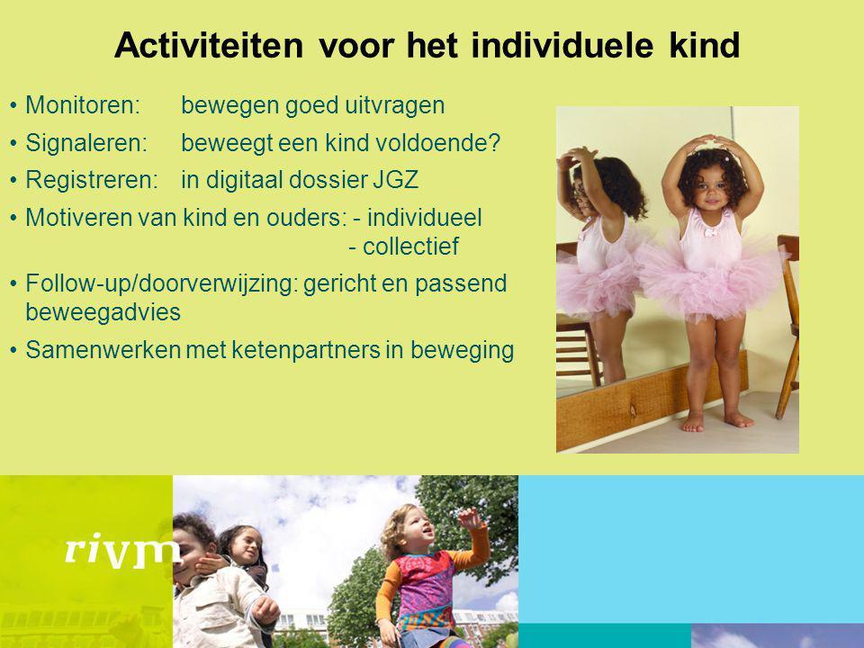 Activiteiten voor het individuele kind Monitoren:bewegen goed uitvragen Signaleren: beweegt een kind voldoende? Registreren: in digitaal dossier JGZ M