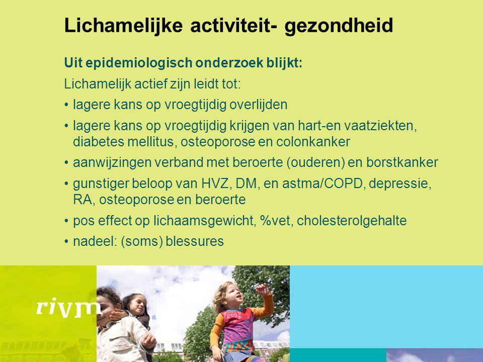 Lichamelijke activiteit- gezondheid Uit epidemiologisch onderzoek blijkt: Lichamelijk actief zijn leidt tot: lagere kans op vroegtijdig overlijden lag