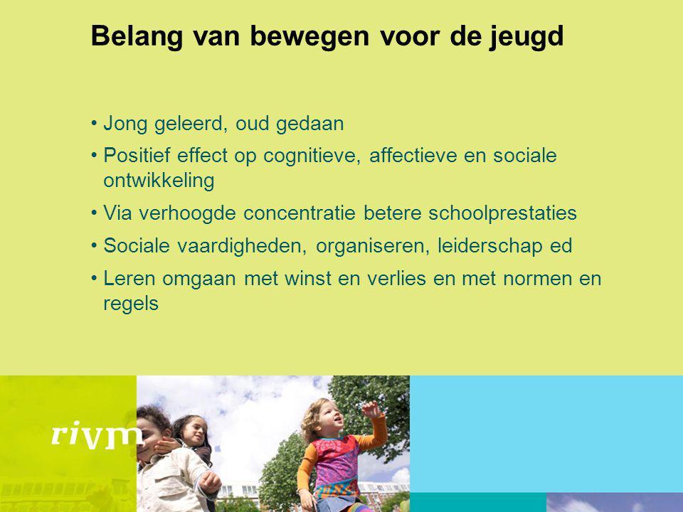 Belang van bewegen voor de jeugd Jong geleerd, oud gedaan Positief effect op cognitieve, affectieve en sociale ontwikkeling Via verhoogde concentratie
