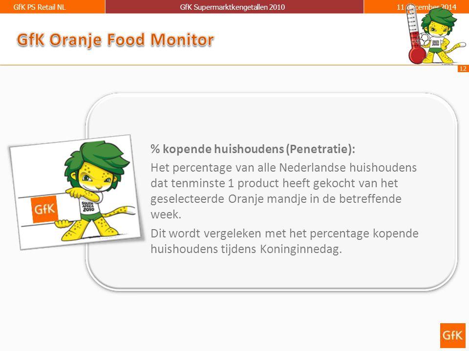12 GfK PS Retail NLGfK Supermarktkengetallen 201011 december 2014 % kopende huishoudens (Penetratie): Het percentage van alle Nederlandse huishoudens dat tenminste 1 product heeft gekocht van het geselecteerde Oranje mandje in de betreffende week.