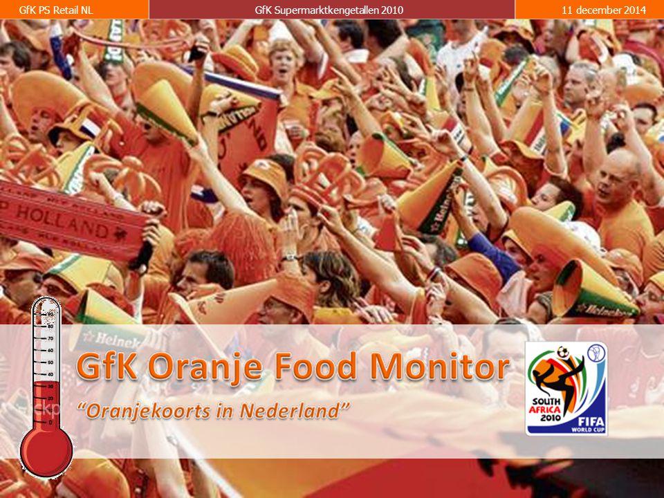 3 GfK PS Retail NLGfK Supermarktkengetallen 201011 december 2014 Door middel van een vast pakket van Oranje gerelateerde foodproducten die in de supermarkten te koop zijn brengt GfK Panel Services Benelux wekelijks, zo lang Oranje in de race is, de Oranjekoorts in beeld.