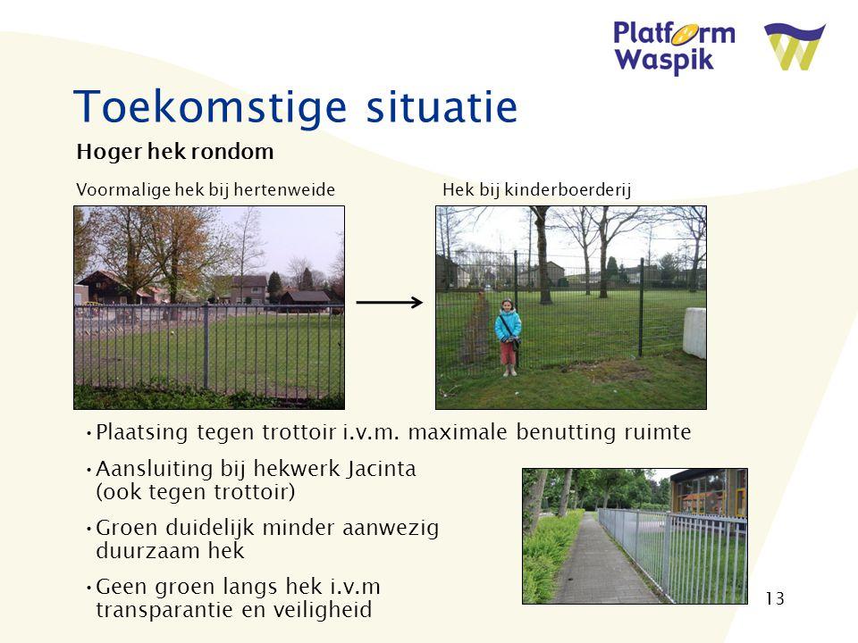 13 Toekomstige situatie Hoger hek rondom Voormalige hek bij hertenweide Hek bij kinderboerderij Plaatsing tegen trottoir i.v.m.