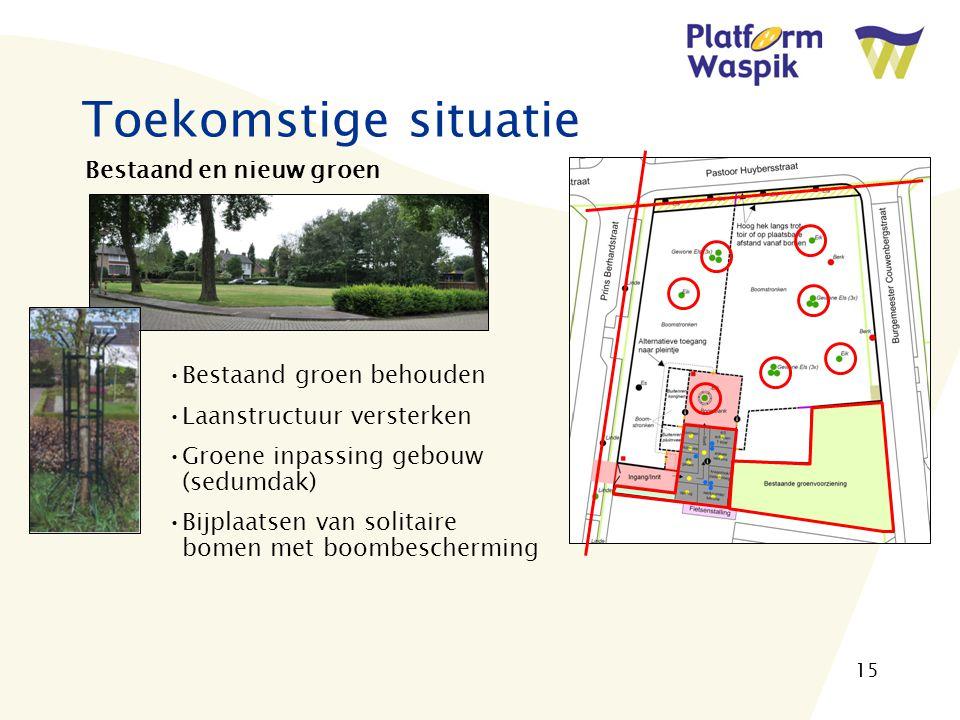 15 Toekomstige situatie Bestaand en nieuw groen Bestaand groen behouden Laanstructuur versterken Groene inpassing gebouw (sedumdak) Bijplaatsen van solitaire bomen met boombescherming