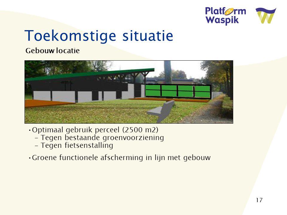 17 Toekomstige situatie Gebouw locatie Optimaal gebruik perceel (2500 m2) - Tegen bestaande groenvoorziening - Tegen fietsenstalling Groene functionele afscherming in lijn met gebouw