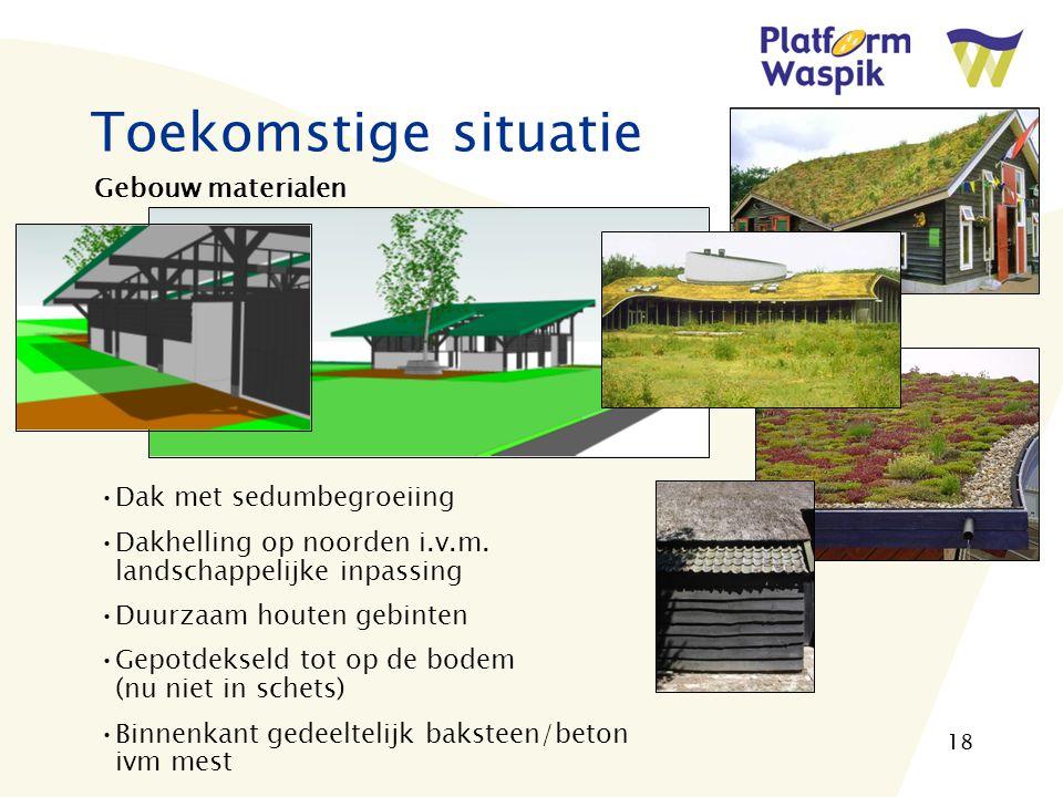 18 Toekomstige situatie Gebouw materialen Dak met sedumbegroeiing Dakhelling op noorden i.v.m.