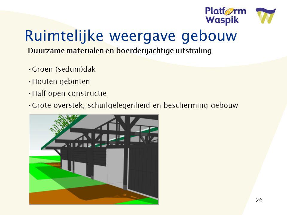 26 Ruimtelijke weergave gebouw Duurzame materialen en boerderijachtige uitstraling Groen (sedum)dak Houten gebinten Half open constructie Grote overstek, schuilgelegenheid en bescherming gebouw