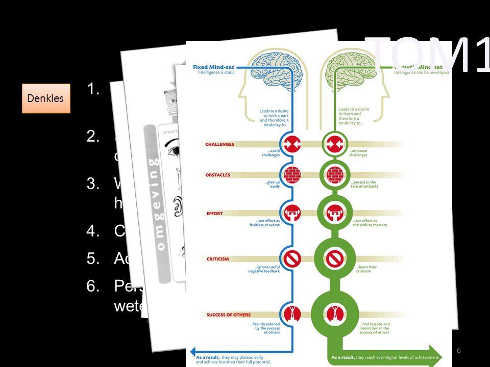1.Hoe werken de hersenen, en hoe werk jij met jouw hersenen 2.Samenwerken, communiceren, creativiteit, bronnen van intelligentie 3.Wetenschap en maatschappij, en wat heb jij daarmee te maken 4.Critical thinking, Socratisch gesprek 5.Academische denkstandaarden 6.Persoonlijke effectiviteit, wetenschappelijk schrijven TOM1 6 Denkles