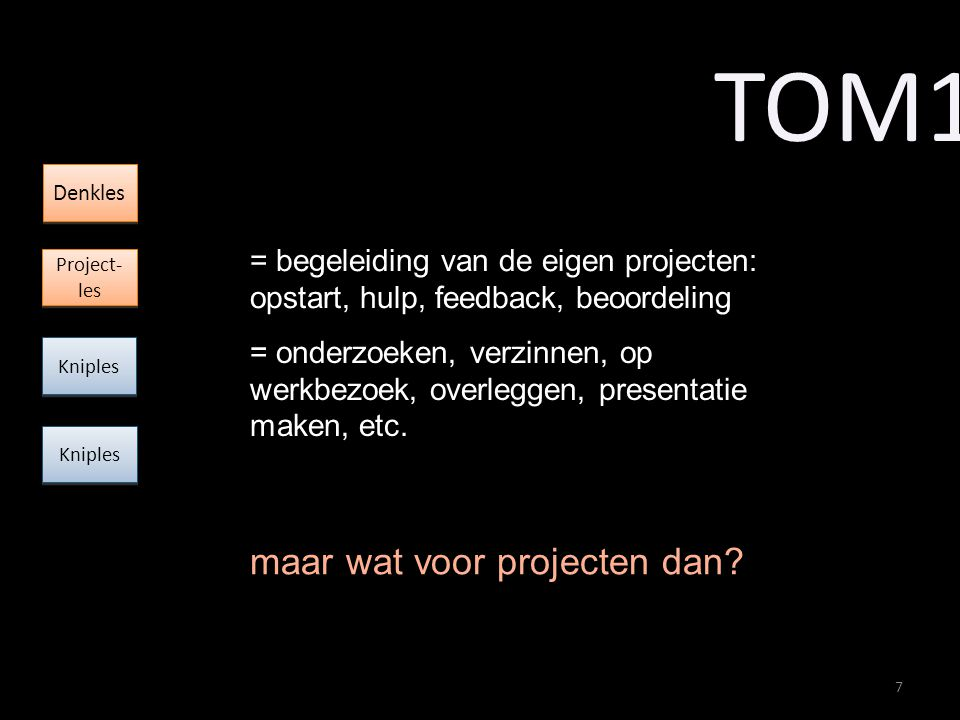= begeleiding van de eigen projecten: opstart, hulp, feedback, beoordeling = onderzoeken, verzinnen, op werkbezoek, overleggen, presentatie maken, etc