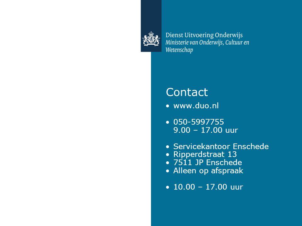 Contact www.duo.nl 050-5997755 9.00 – 17.00 uur Servicekantoor Enschede Ripperdstraat 13 7511 JP Enschede Alleen op afspraak 10.00 – 17.00 uur