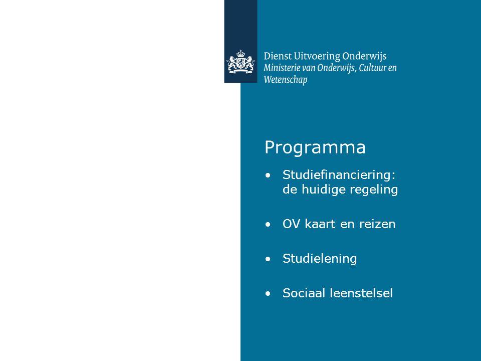 Programma Studiefinanciering: de huidige regeling OV kaart en reizen Studielening Sociaal leenstelsel