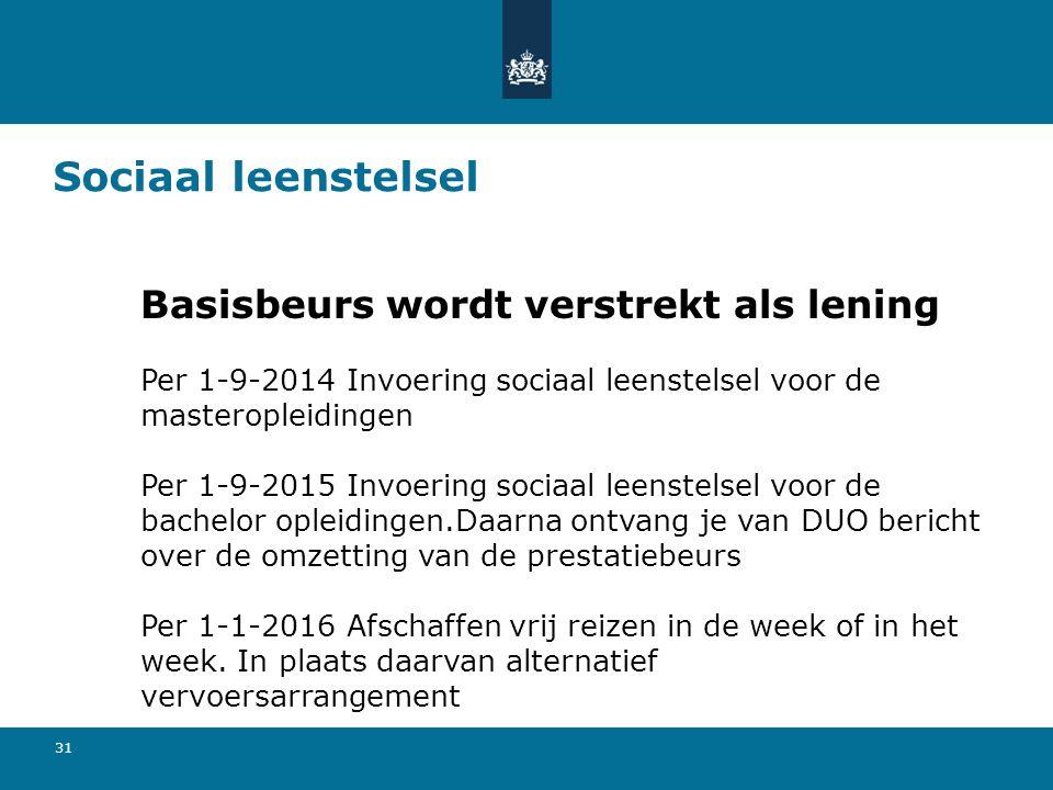 31 Sociaal leenstelsel Basisbeurs wordt verstrekt als lening Per 1-9-2014 Invoering sociaal leenstelsel voor de masteropleidingen Per 1-9-2015 Invoeri
