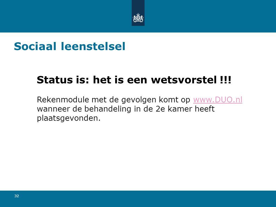 32 Sociaal leenstelsel Status is: het is een wetsvorstel !!! Rekenmodule met de gevolgen komt op www.DUO.nl wanneer de behandeling in de 2e kamer heef