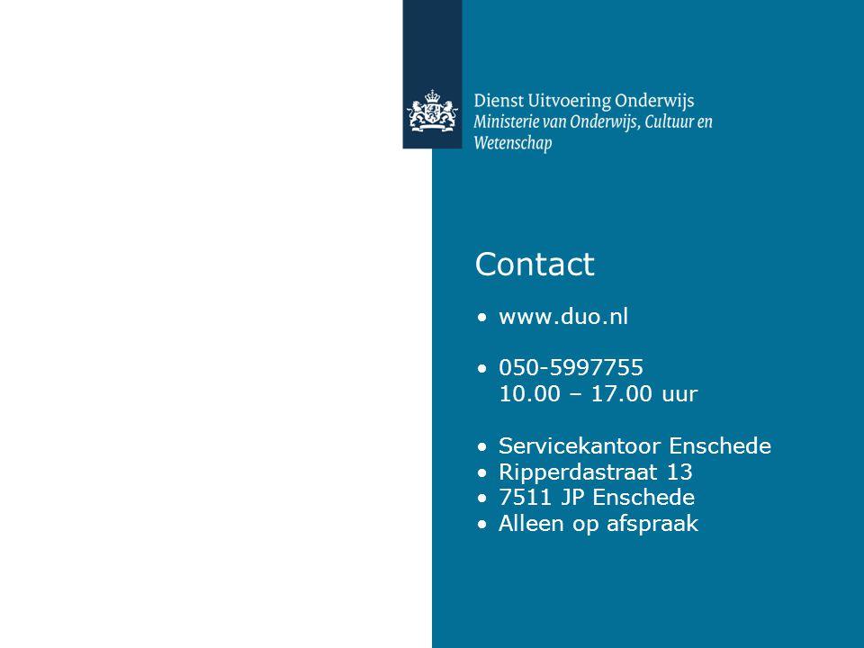 Contact www.duo.nl 050-5997755 10.00 – 17.00 uur Servicekantoor Enschede Ripperdastraat 13 7511 JP Enschede Alleen op afspraak