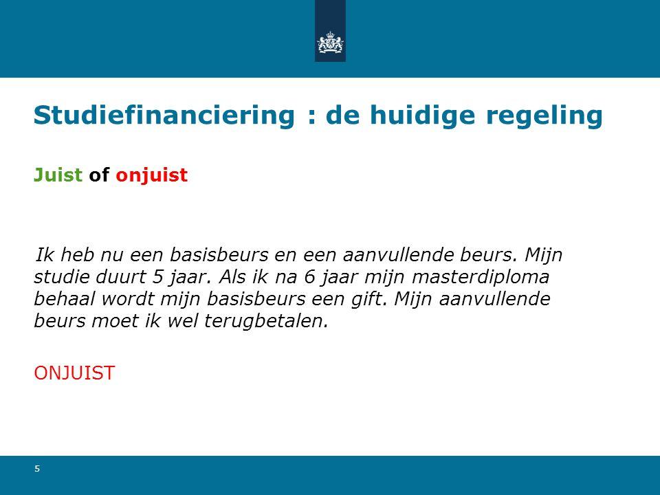6 Studiefinanciering: de huidige regeling Basisbeurs Uitwonend Thuiswonend € 272,46 € 97,85 Als je niet bij één van je ouders woont, heb je recht op de uitwonende beurs.