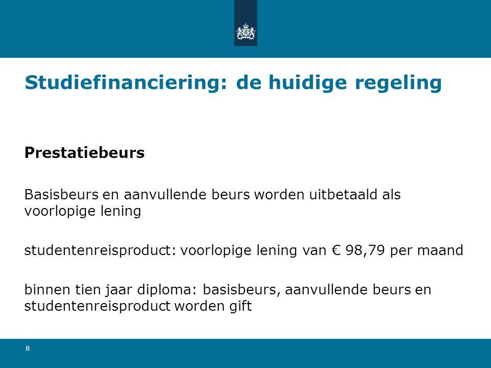 9 Studiefinanciering: de huidige regeling Rentedragende lening & collegegeldkrediet rentepercentage 0,60% (2013) hoogte lening is zelf (maandelijks) te bepalen collegegeldkrediet: afhankelijk van de hoogte van het collegegeld