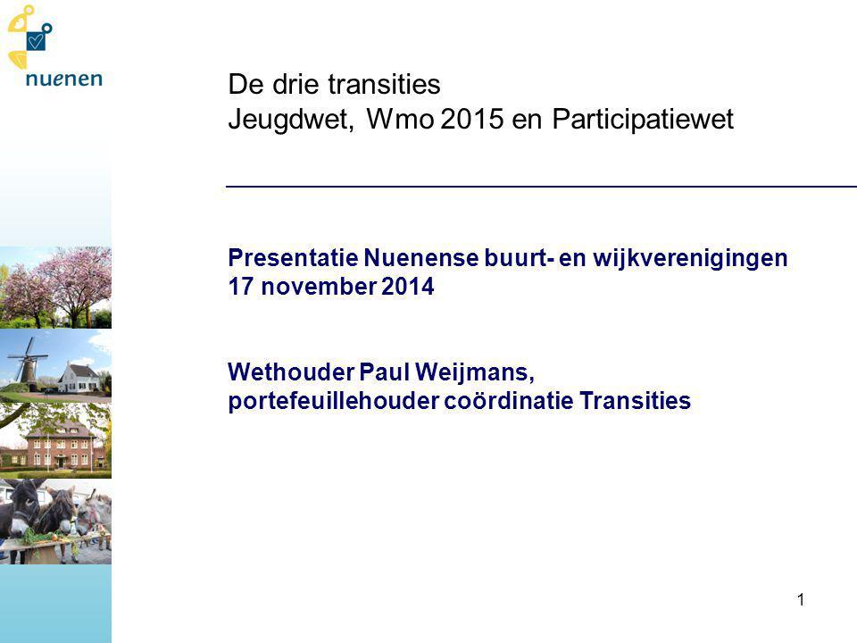 De drie transities Jeugdwet, Wmo 2015 en Participatiewet Presentatie Nuenense buurt- en wijkverenigingen 17 november 2014 Wethouder Paul Weijmans, portefeuillehouder coördinatie Transities 1