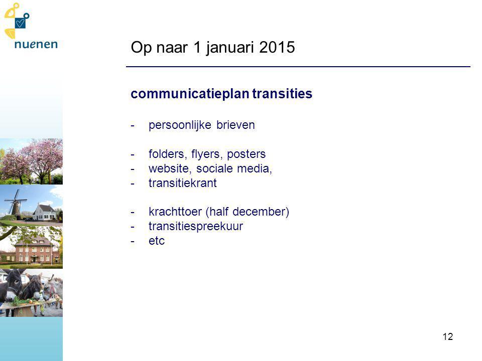Op naar 1 januari 2015 communicatieplan transities -persoonlijke brieven -folders, flyers, posters -website, sociale media, -transitiekrant -krachttoer (half december) -transitiespreekuur -etc 12